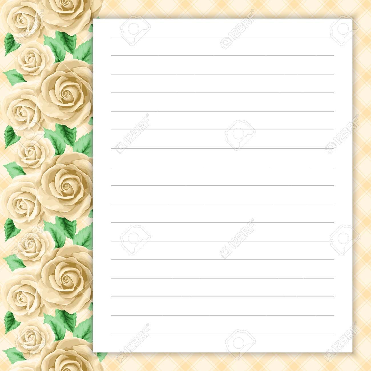 Lined Seite Für Notizen Design Im Retro-Stil. Floral Background ...