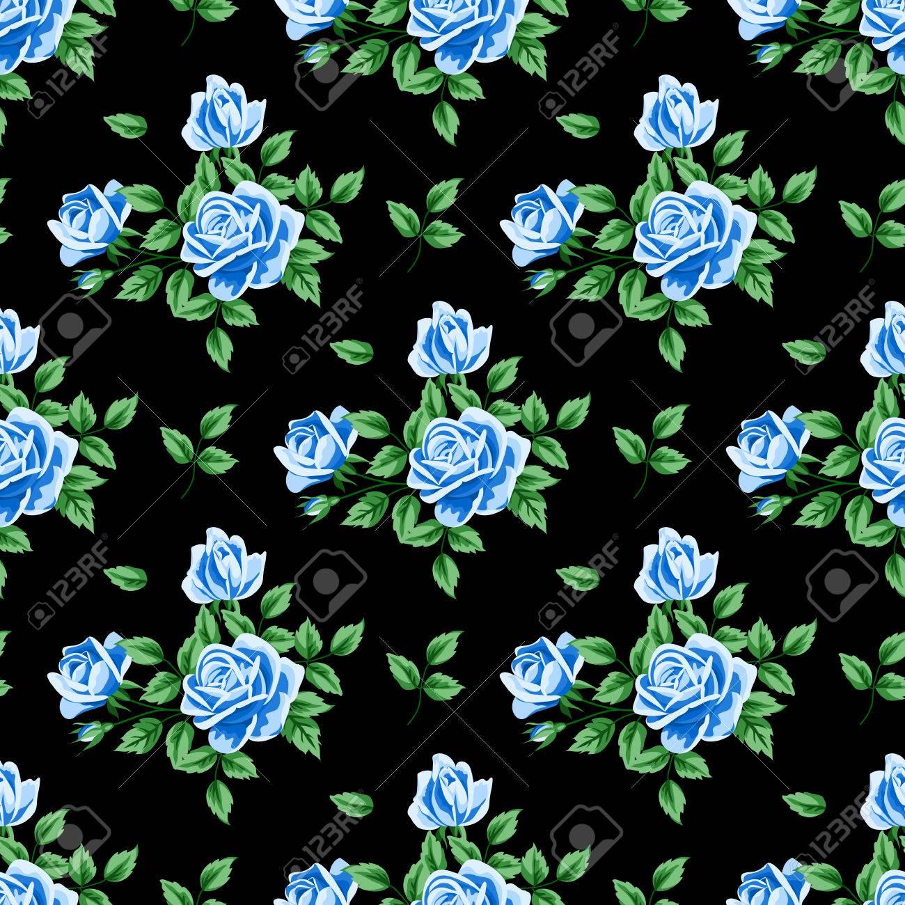 Vettoriale Seamless Pattern Con Rose Blu E Foglie Su Sfondo Nero