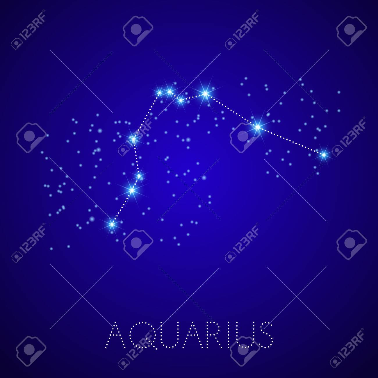 Zodiac Constellation Aquarius Realistic Star Map Fragment Vector - Zodiac constellations map
