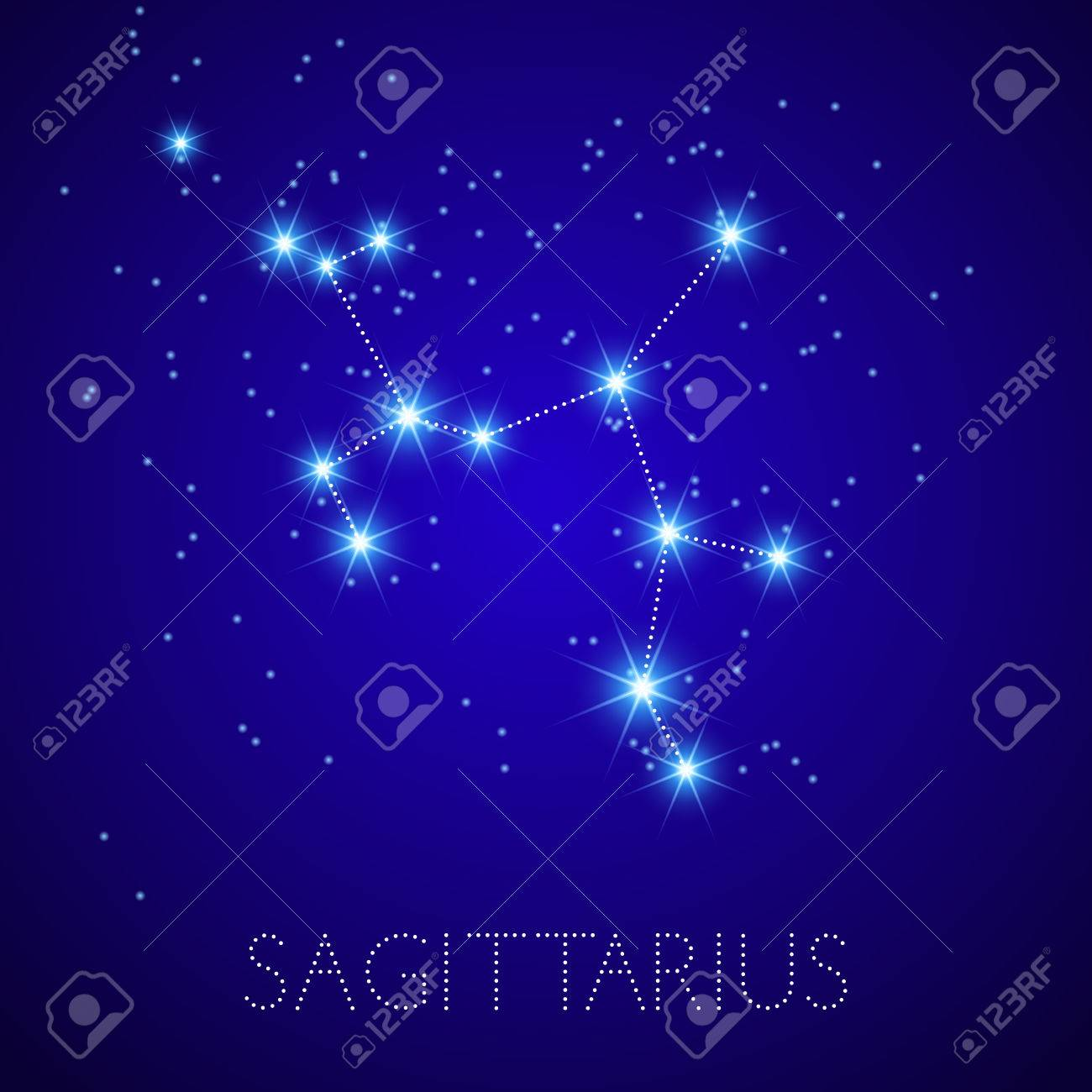Zodiac Constellation Sagittarius Realistic Star Map Fragment - Zodiac constellations map