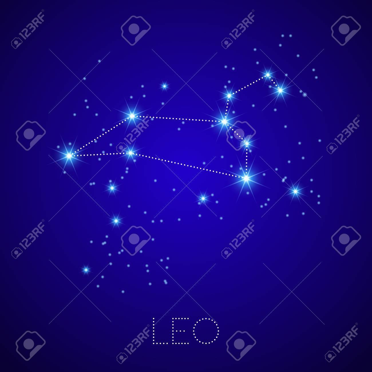 Zodiac Constellation Leo Realistic Star Map Fragment Vector - Zodiac constellations map