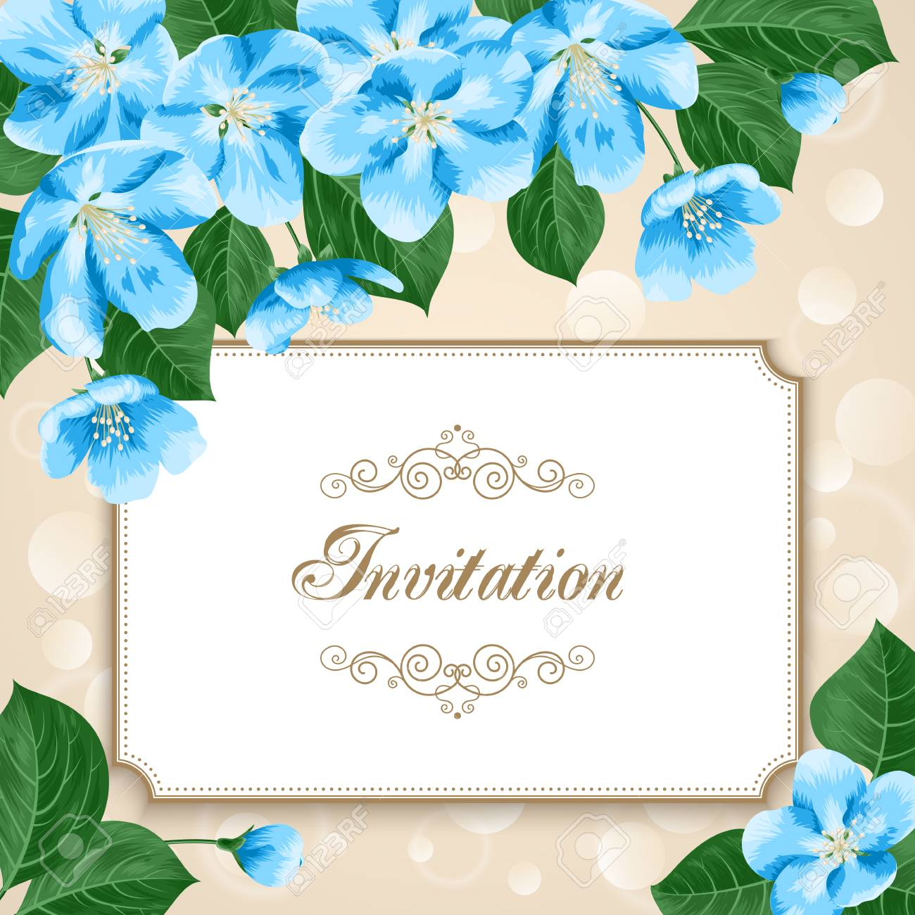 Vintage Floral Invitation Template With Hand Drawn Flowers Apple