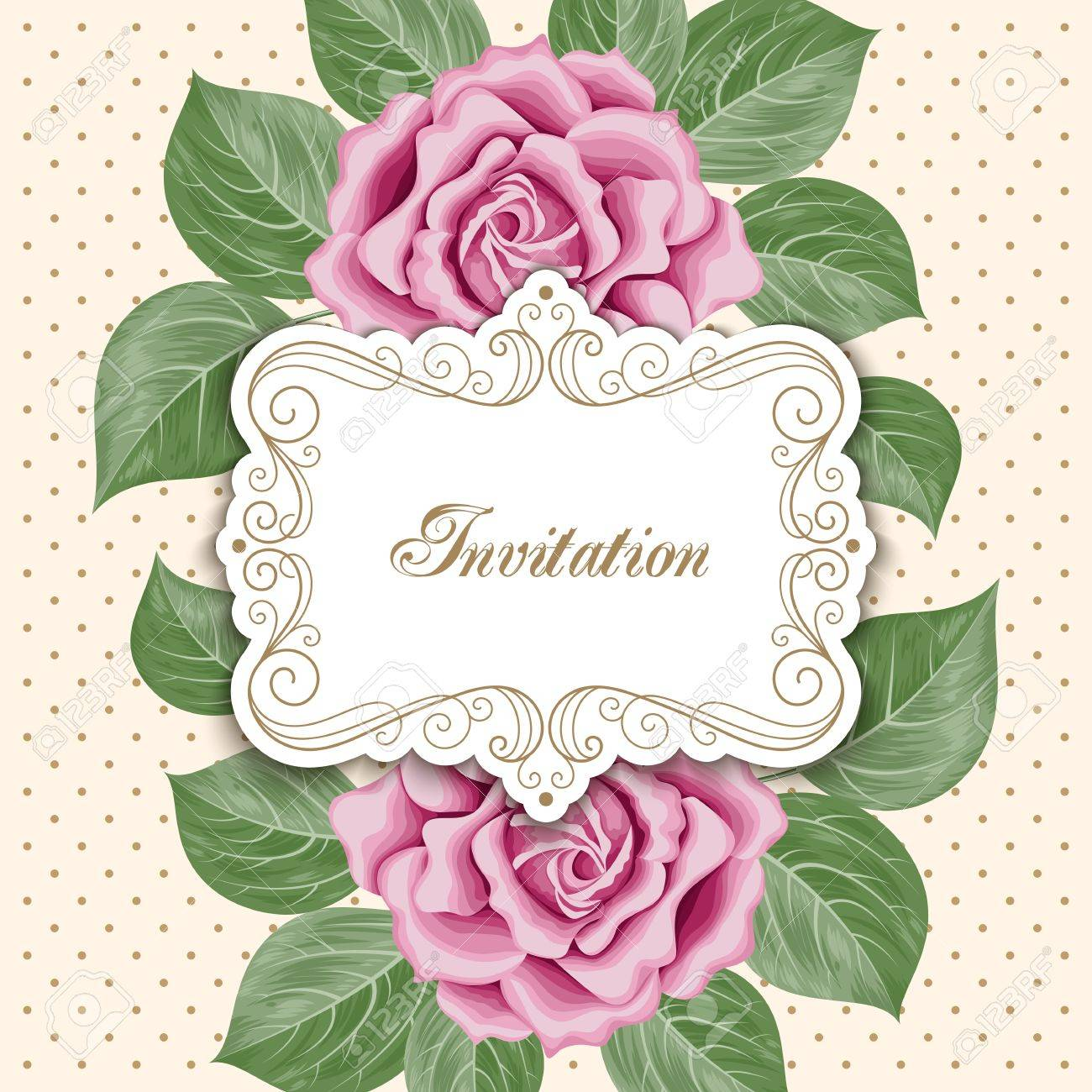 Vintage Floral Invitation Template With Hand Drawn Flowers. Royalty ...