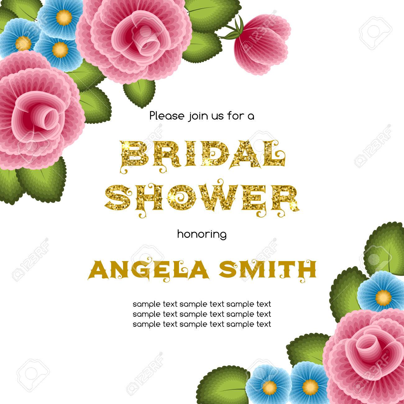 Bridal Shower Invitation Template With Flowers. Illustration ...