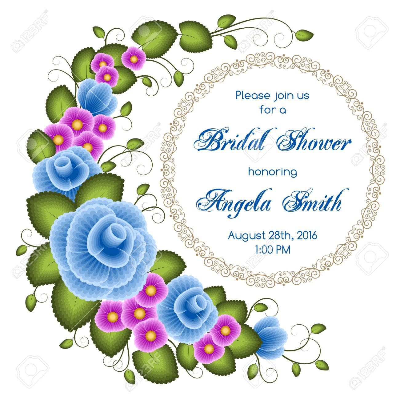 bridal shower invitation template with flowers illustration in one stroke painting style vector stock