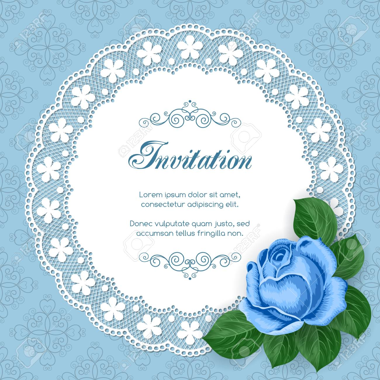 Vintage Floral Invitation Template With Hand Drawn Flowers And