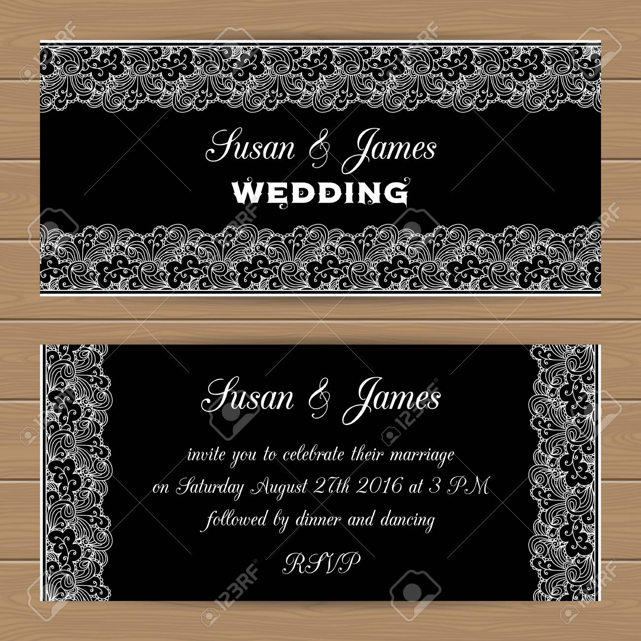 Wedding Card Or Invitation Template With Lacy Border Can Use