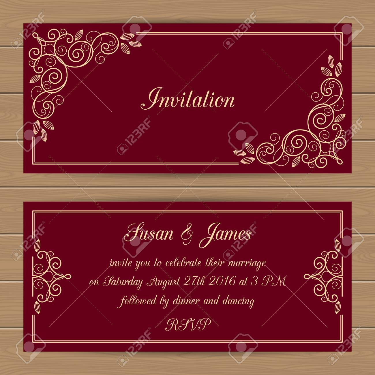 Wedding Card Or Invitation Template With Calligraphy Frame. Vector ...