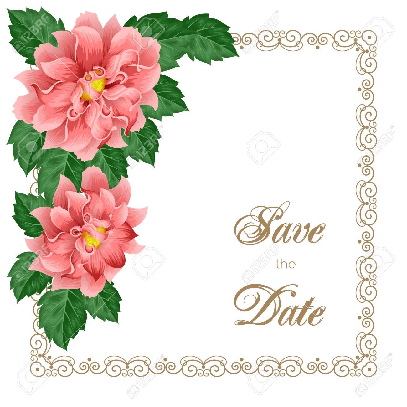Wedding Invitation Template With Dahlias And Decorative Frame ...