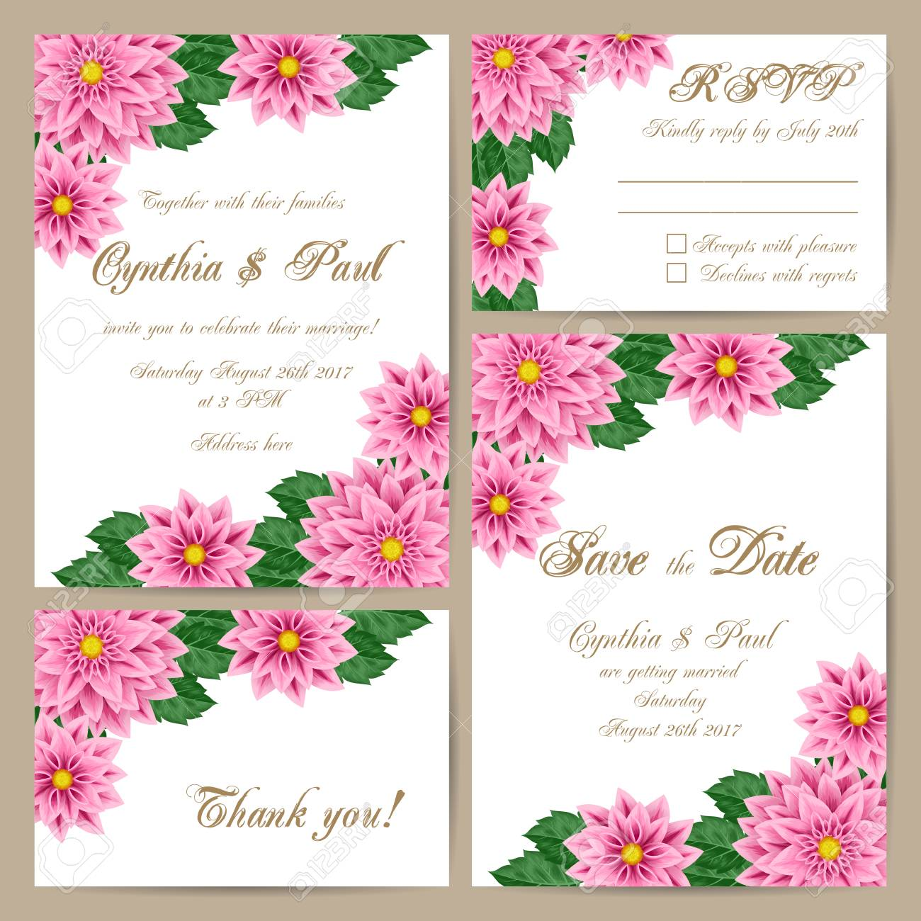 Set Hochzeitskarten Mit Zarten Blumenverzierung Vektor Illustration
