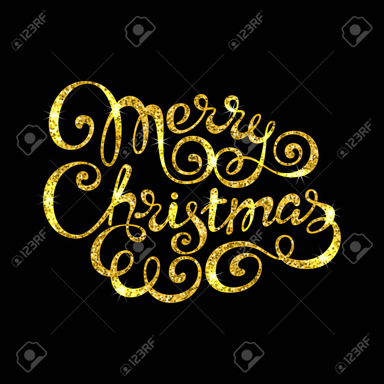 Frohe Weihnachten Gold Glitter Schriftzug Für Grußkarte Oder ...