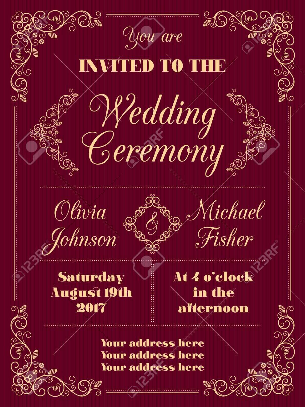 Wedding Invitation In Retro Style With Decorative Design Elements ...