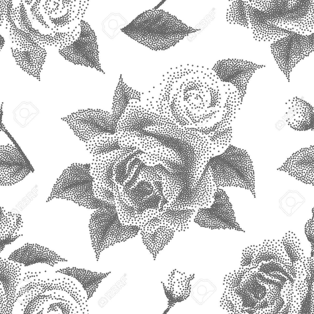 Sin Patrón, Con Rosas De Puntos. Fondo Floral En Estilo Dotwork ...