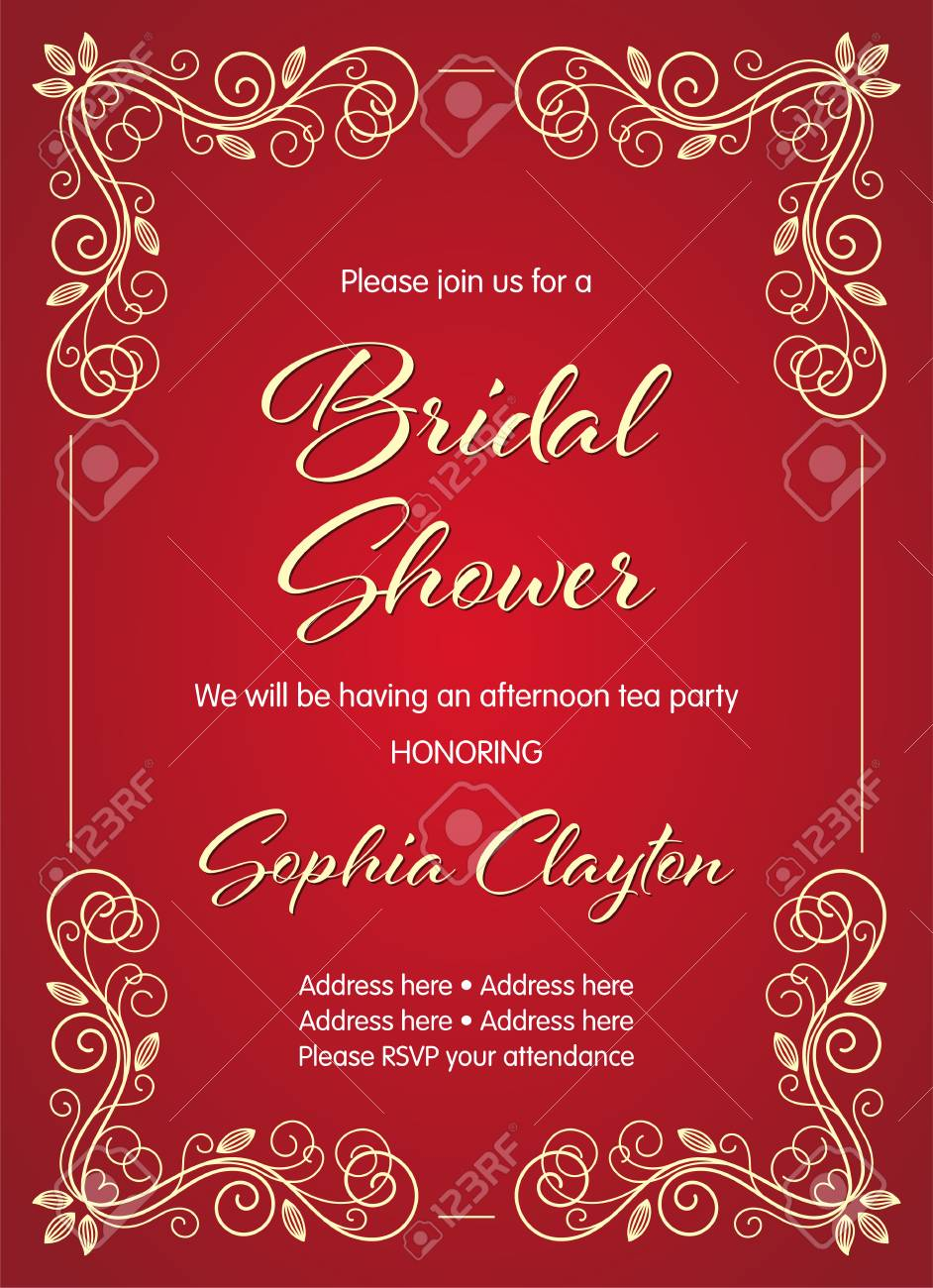 bridal shower invitation in retro style with decorative design elements vector illustration stock vector