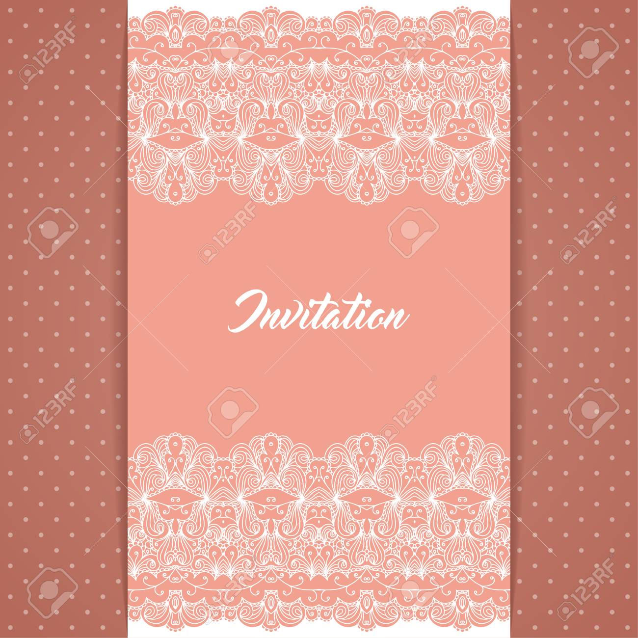 greeting card or invitation template in retro style with lace