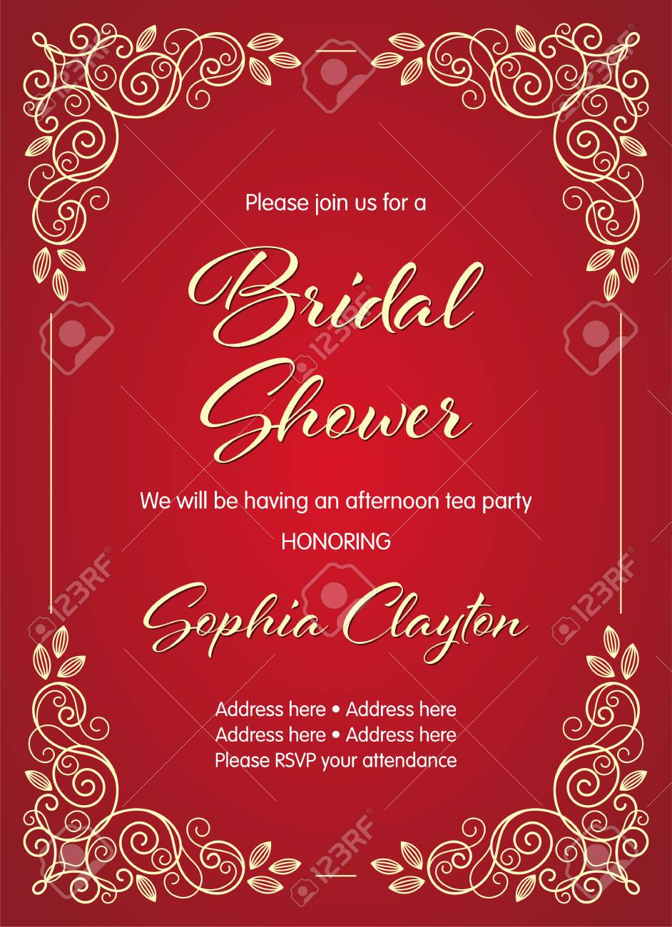 Bridal Shower Invitation In Retro Style With Decorative Design ...