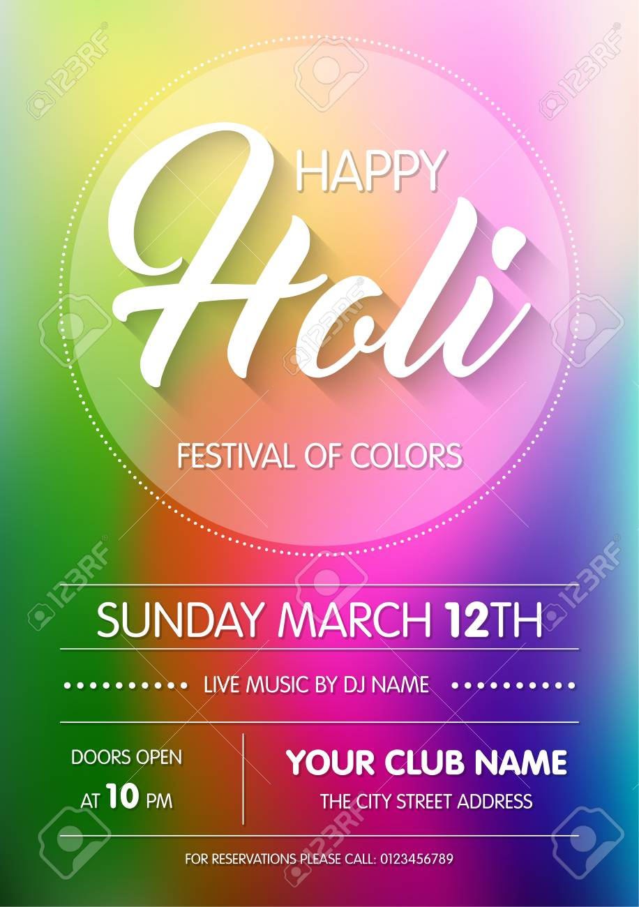 happy holi spring festival of colors poster flyer or invitation