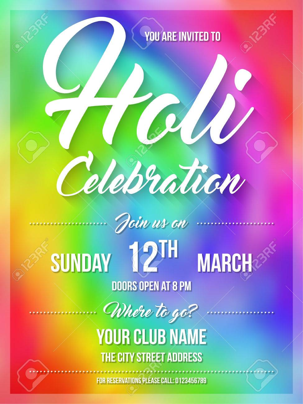 Happy Holi Spring Festival Of Colors. Poster, Flyer Or Invitation ...