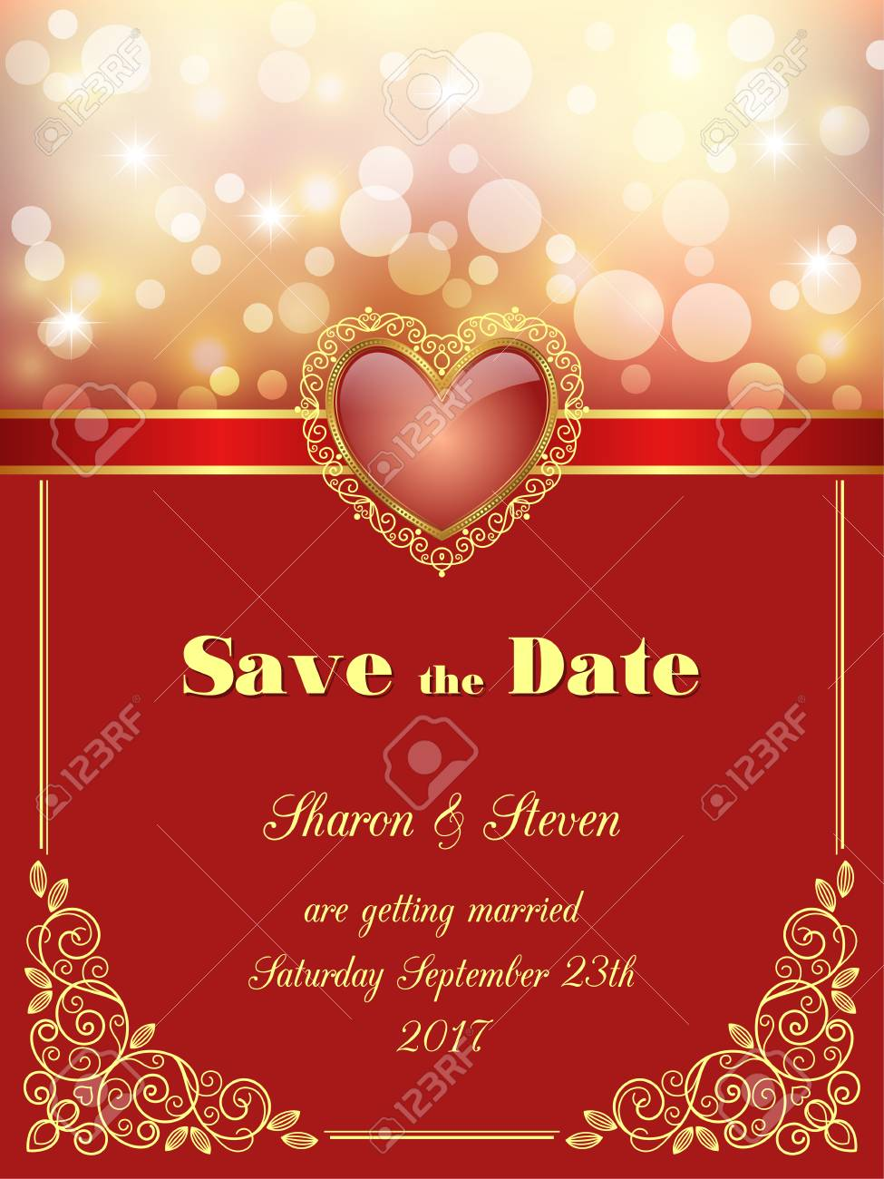 Save The Date Card, Wedding Invitation With Decorative Design ...