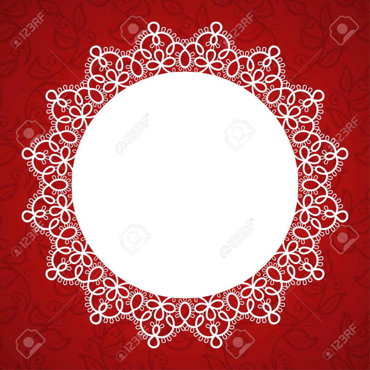Round Lace Frame With A Place For Text Background For Wedding ...