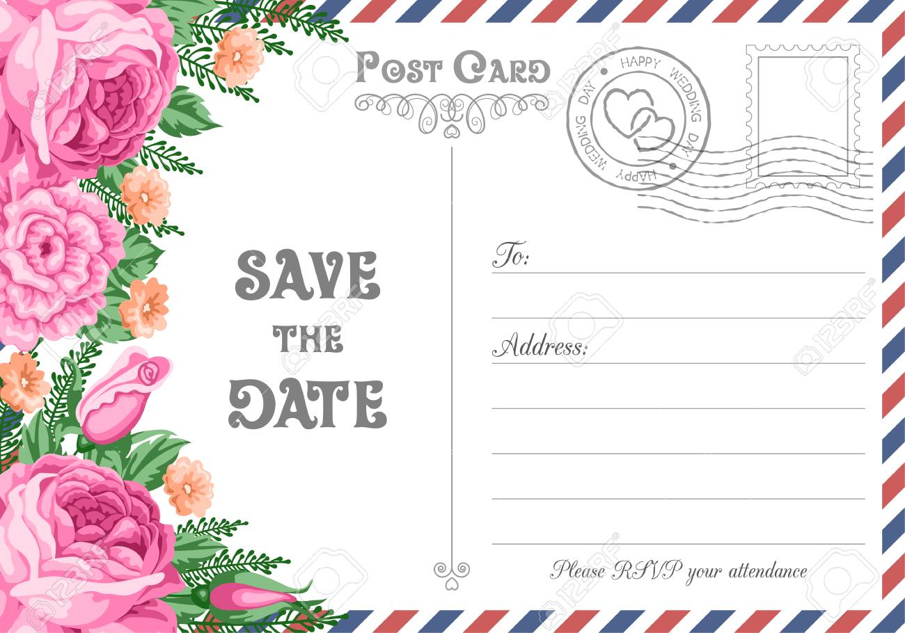Vintage Postcard Wedding Invitation Template With Flowers. Save ...