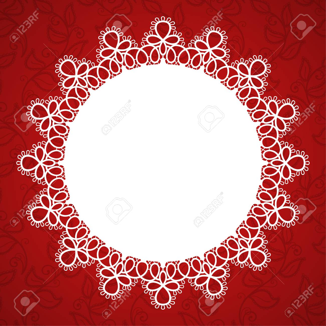 Round Lace Frame With A Place For Text. Background For Wedding ...