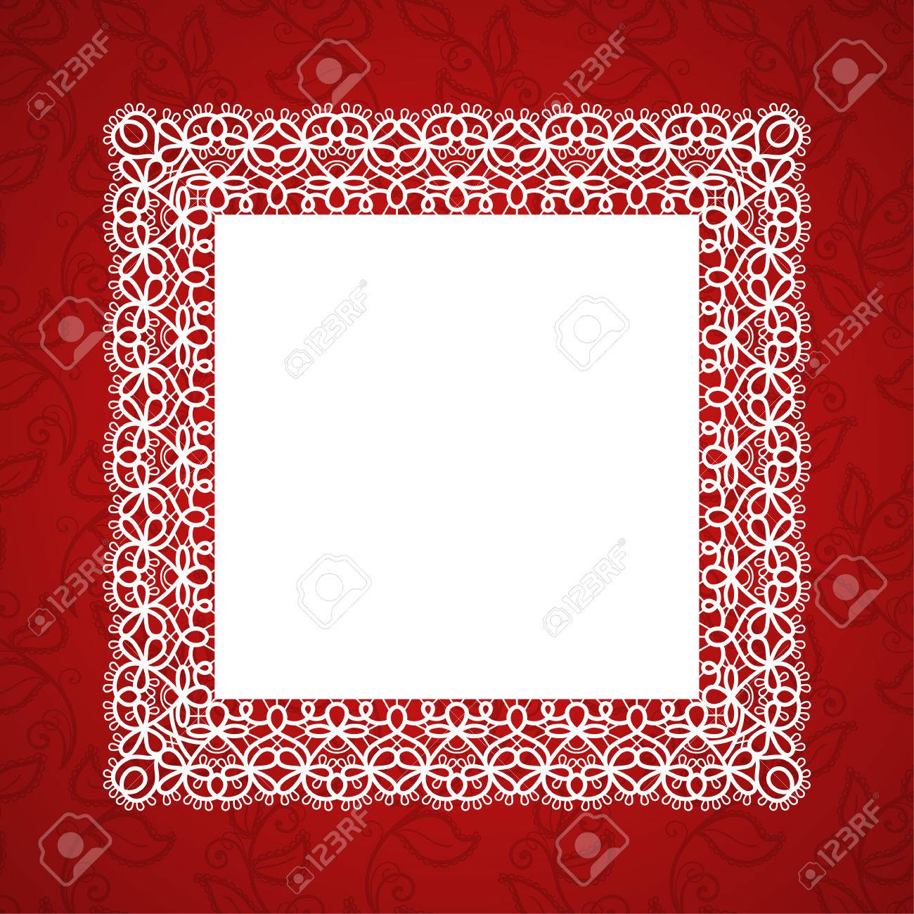 Square Lace Frame With A Place For Text. Background For Wedding ...