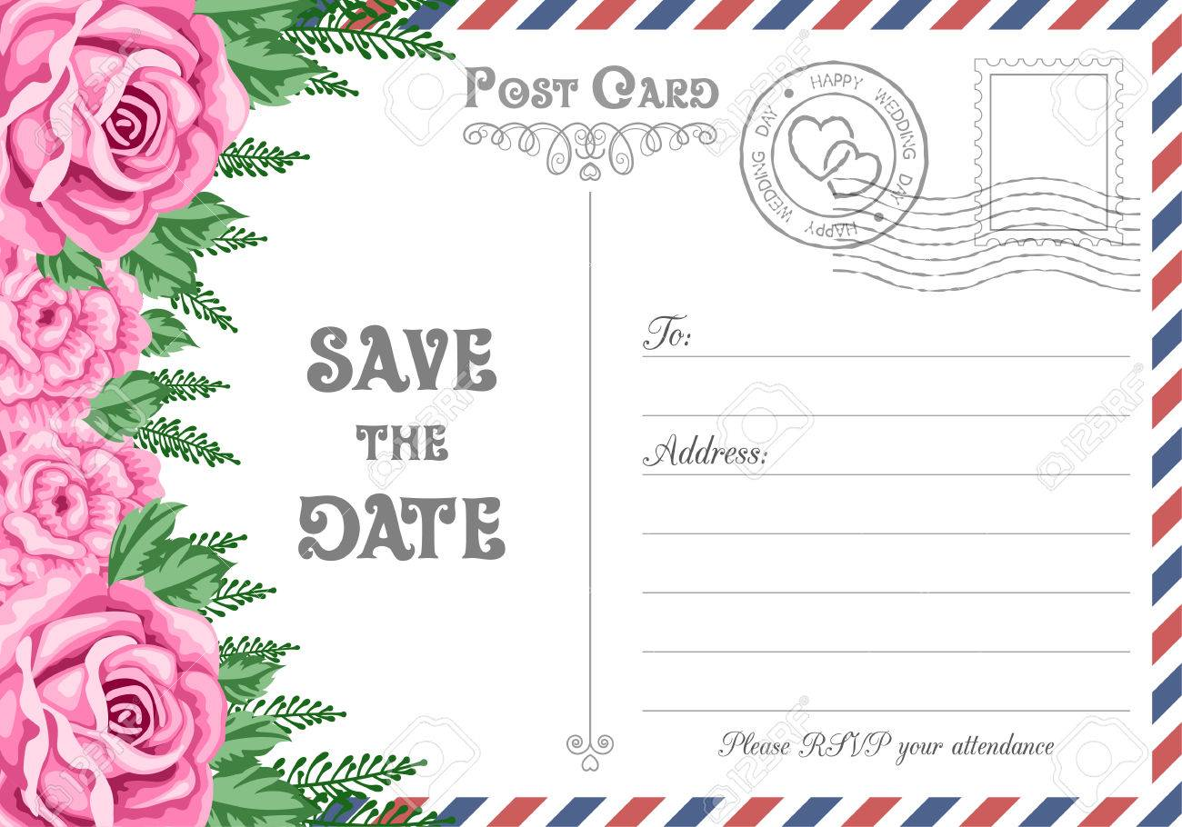 Vintage postcard wedding invitation template with flowers save vector vintage postcard wedding invitation template with flowers save the date card vector illustration stopboris Images