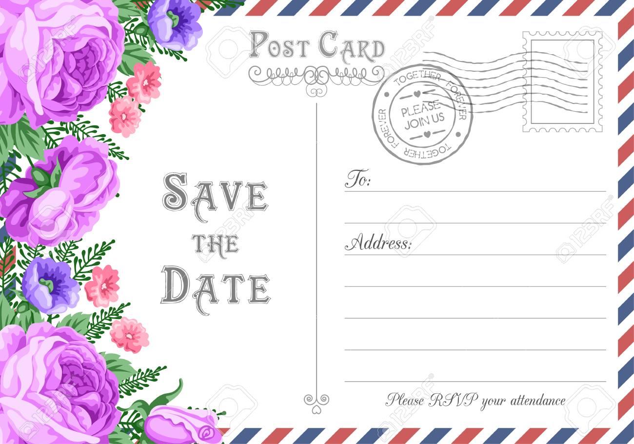 vintage postcard wedding invitation template with flowers save