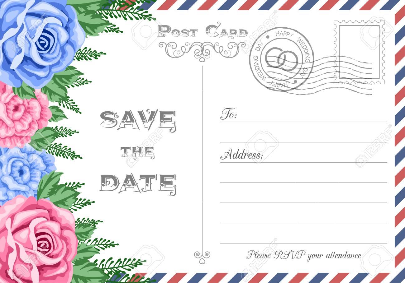 Vintage Postcard Wedding Invitation Template With Flowers. Save ...