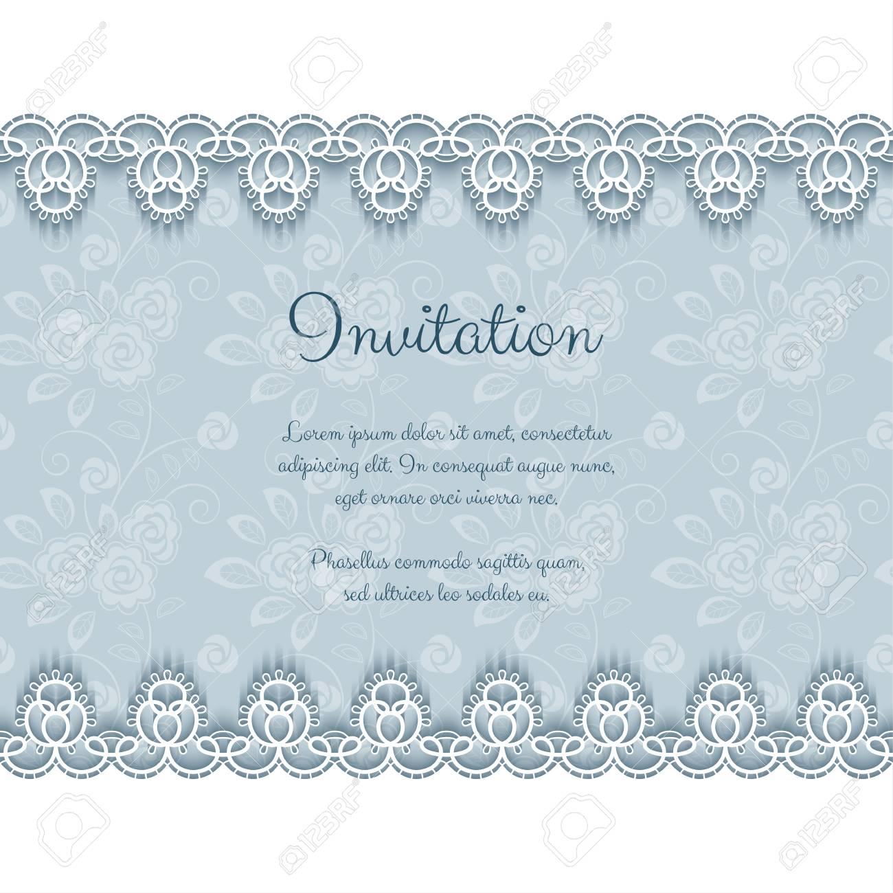 Elegant invitation or greeting card template with lace borders elegant invitation or greeting card template with lace borders vector illustration stock vector 78500150 stopboris Choice Image