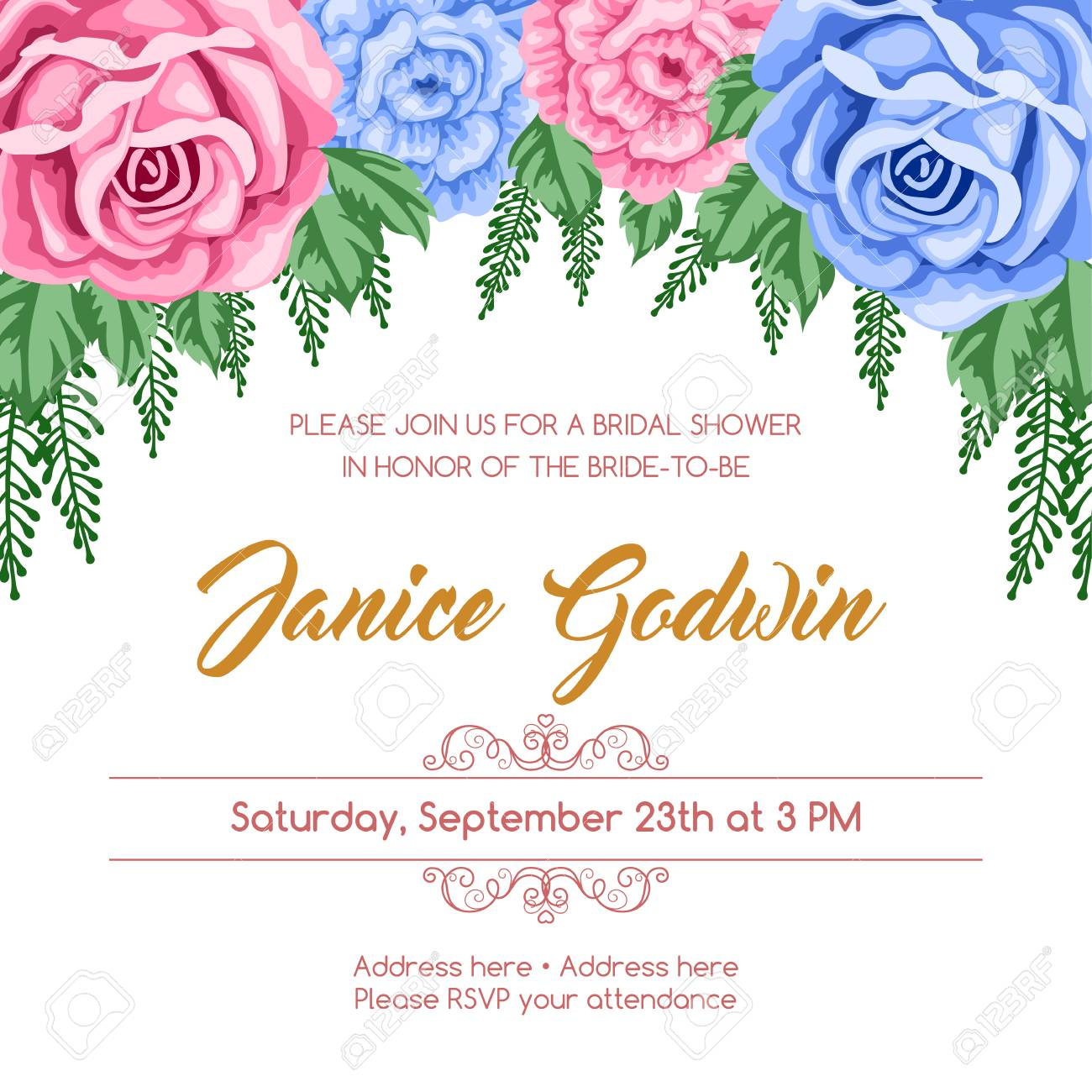 Bridal shower invitation template with flowers vector illustration bridal shower invitation template with flowers vector illustration in retro style stock vector 79077495 filmwisefo