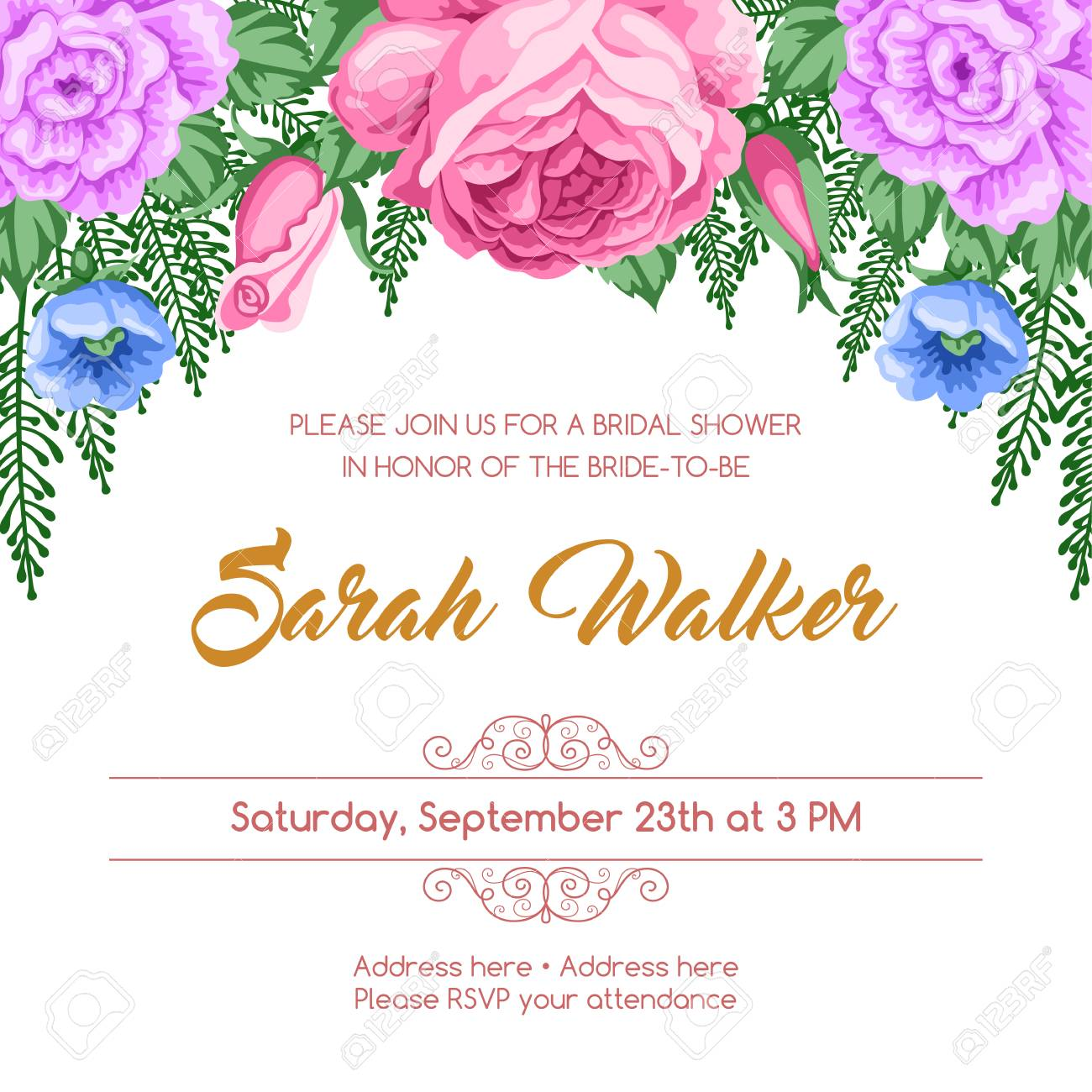 Bridal Shower Invitation Template With Flowers Vector Illustration