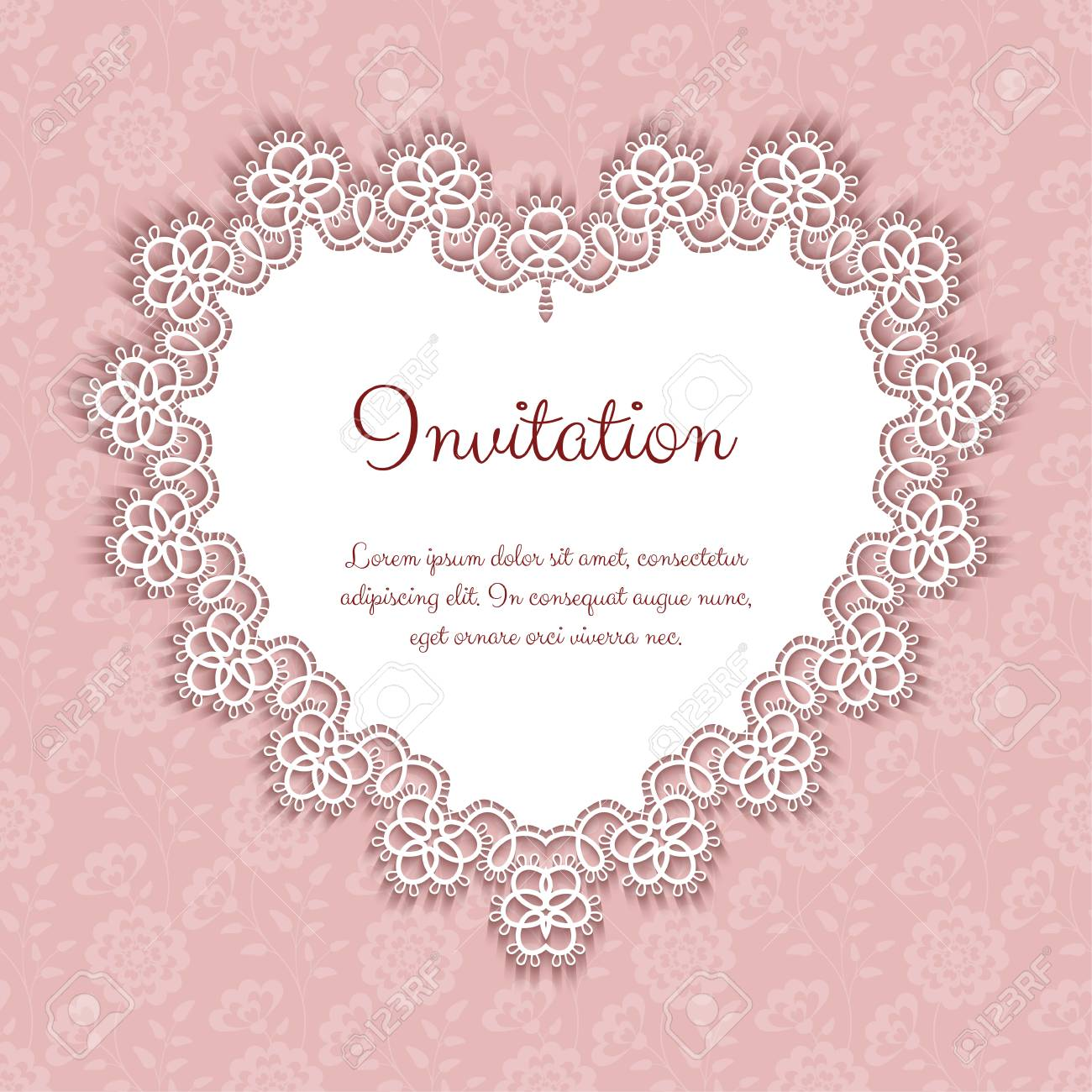 Elegant Invitation Or Greeting Card Template With Lace Heart