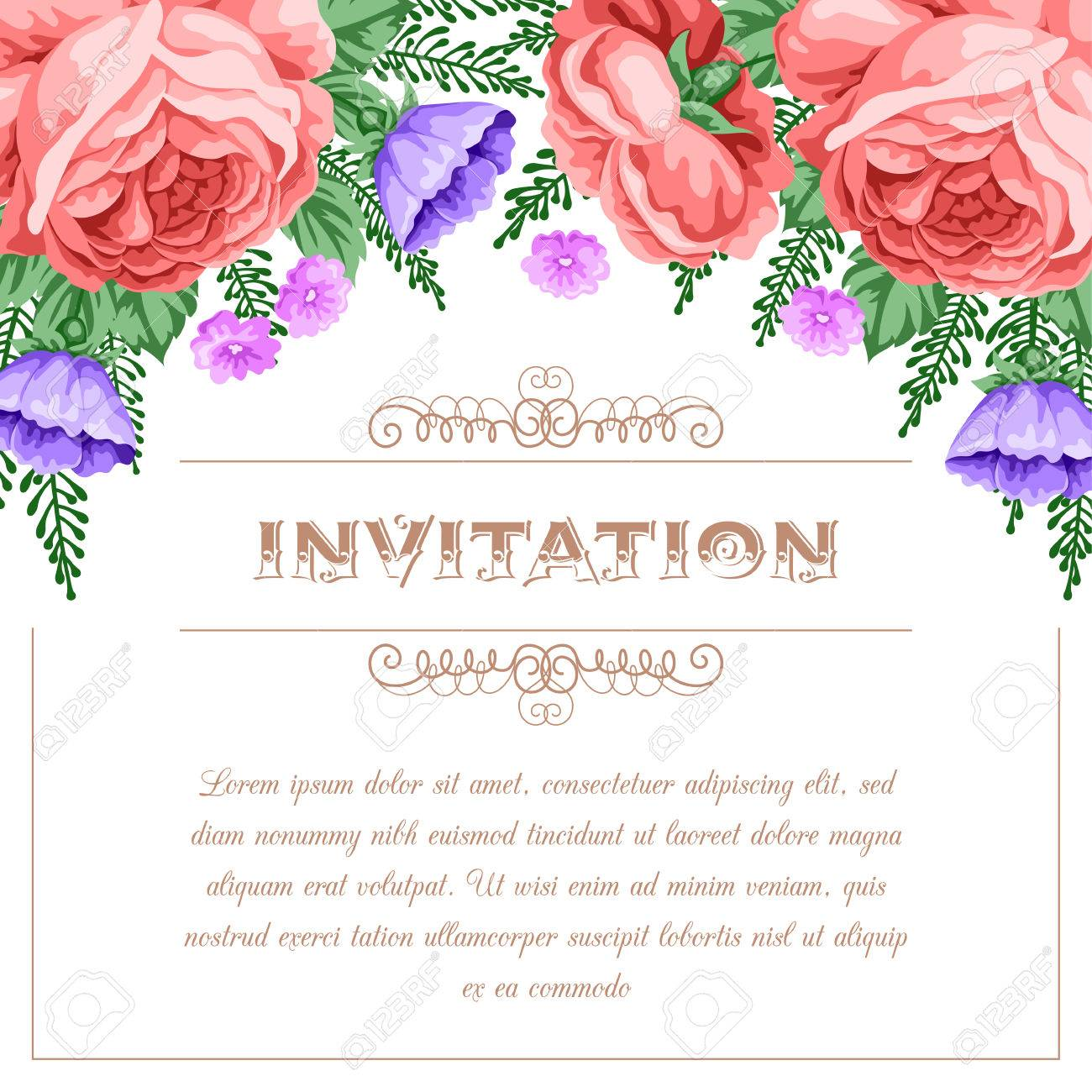 Bridal shower or wedding invitation template with flowers vector bridal shower or wedding invitation template with flowers vector illustration in retro style stock vector stopboris Image collections