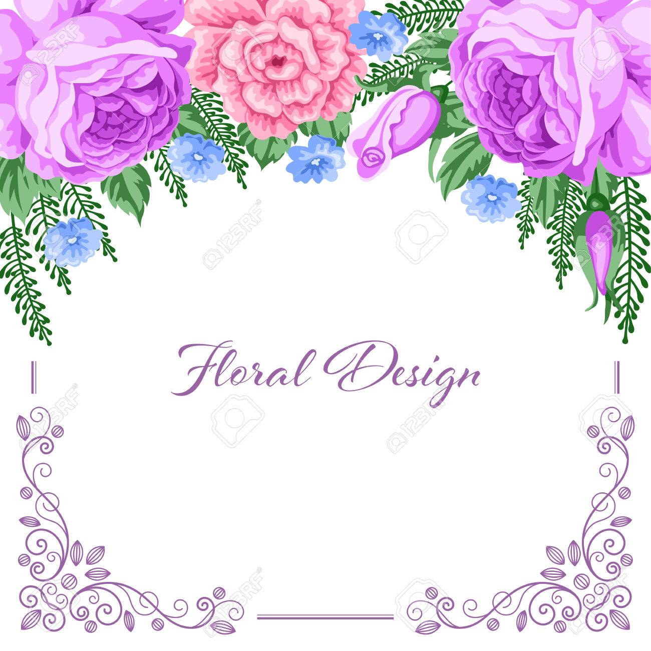 background with flowers and lace frame for wedding invitation save the date or bridal shower