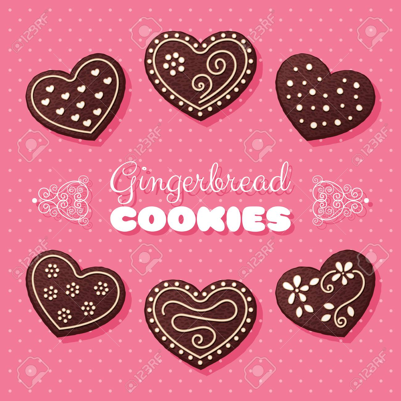 Gingerbread Heart Shaped Cookies Vector Illustration In Retro