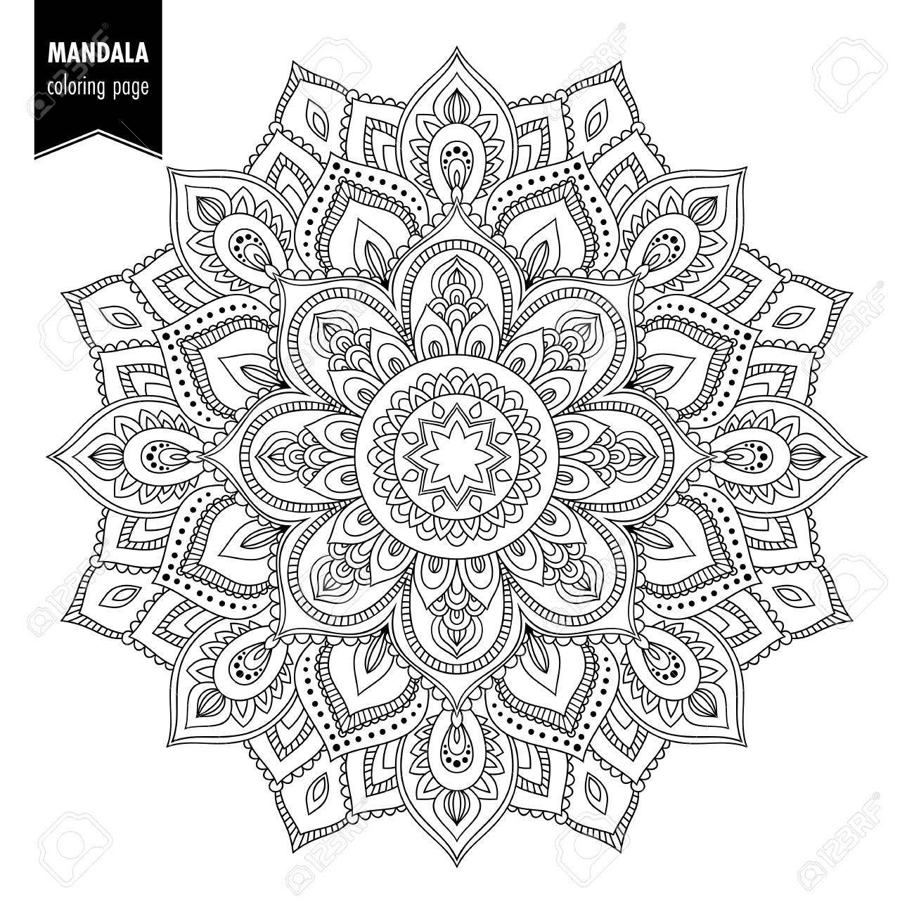 Monochrome ethnic mandala design. Anti-stress coloring page for adults. Hand drawn vector illustration - 90041352