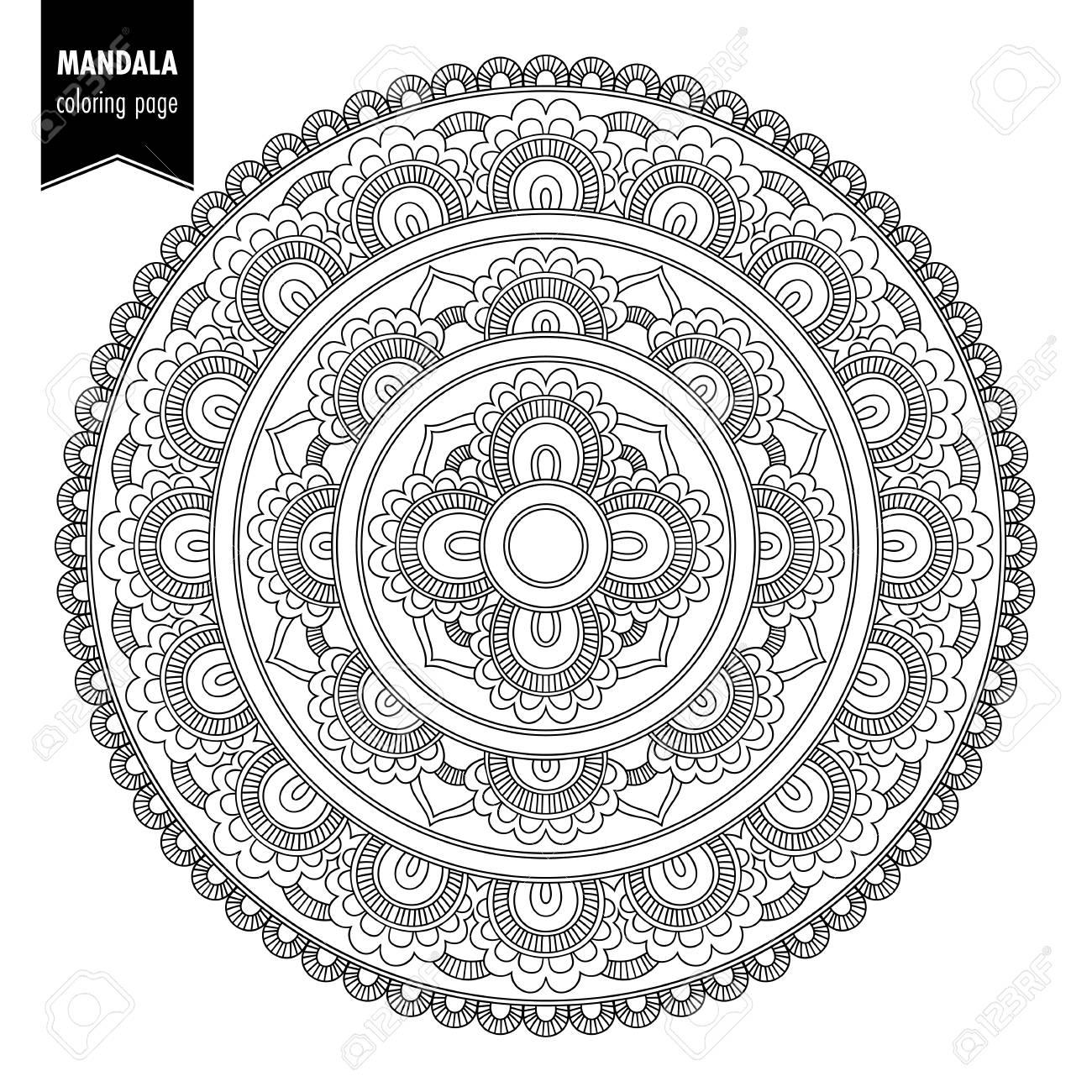 Monochrome Ethnic Mandala Design. Anti-stress Coloring Page For ...