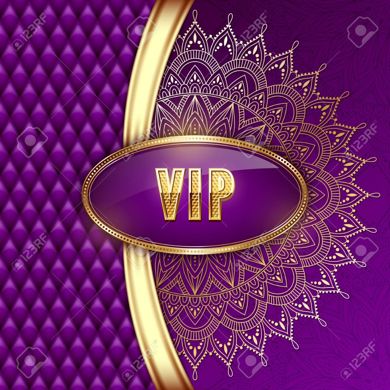 Elegante Tarjeta De Invitación Vip Con Cintas Doradas Y Adornos étnicos Mandala Ilustración Vectorial