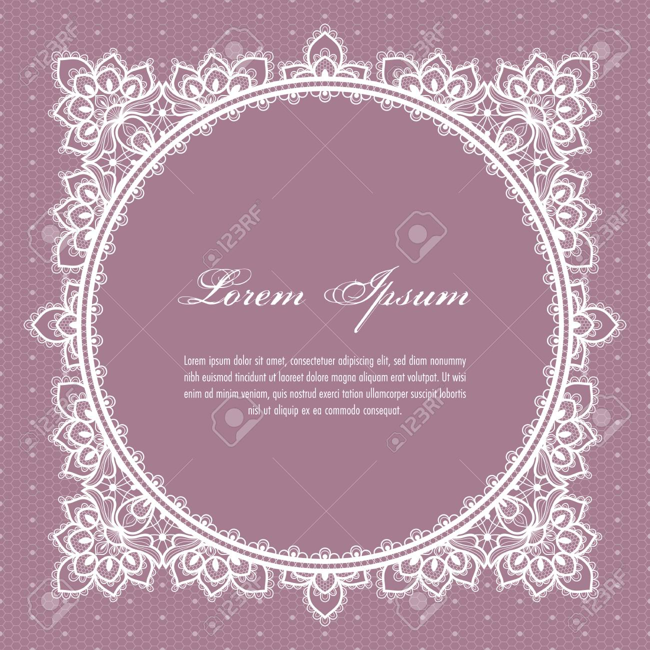 Wedding Card Or Invitation Template With A Filigree Lace Floral