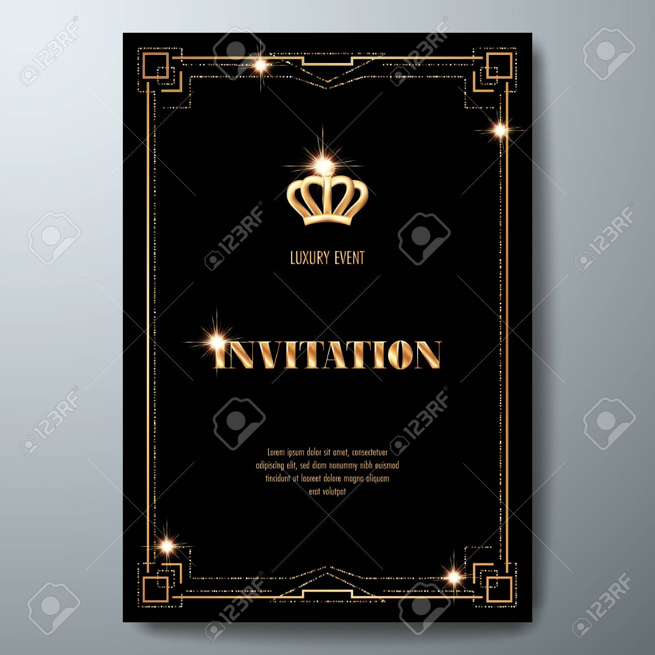 Vip Invitation Template With Golden Crown And Art Deco Frame