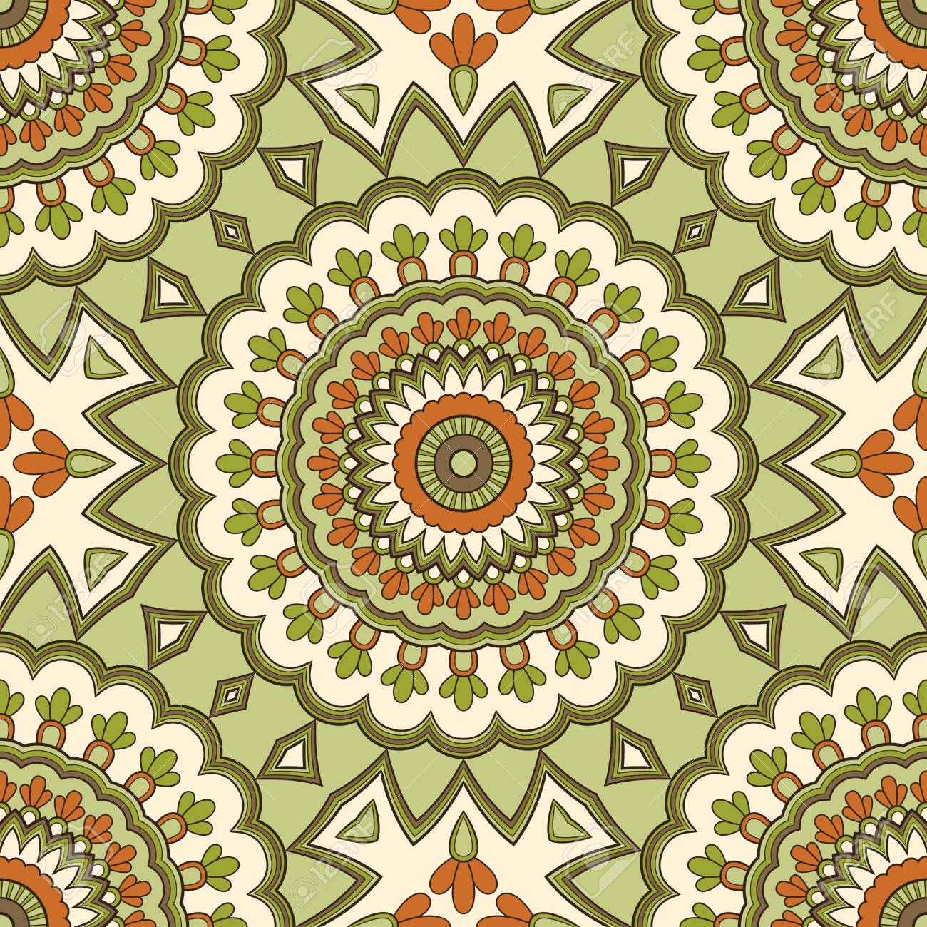 Decorative colorful ethnic seamless pattern for fabric or wrapping in oriental style. Hand drawn illustration - 126479516