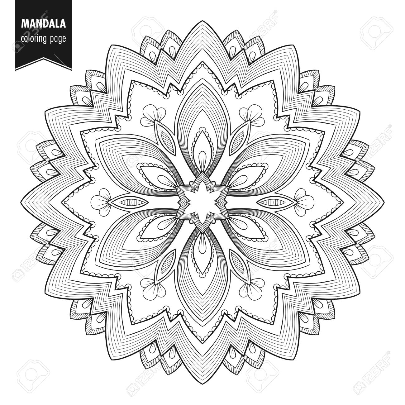 Decorative Monochrome Ethnic Mandala Pattern. Anti-stress Coloring ...