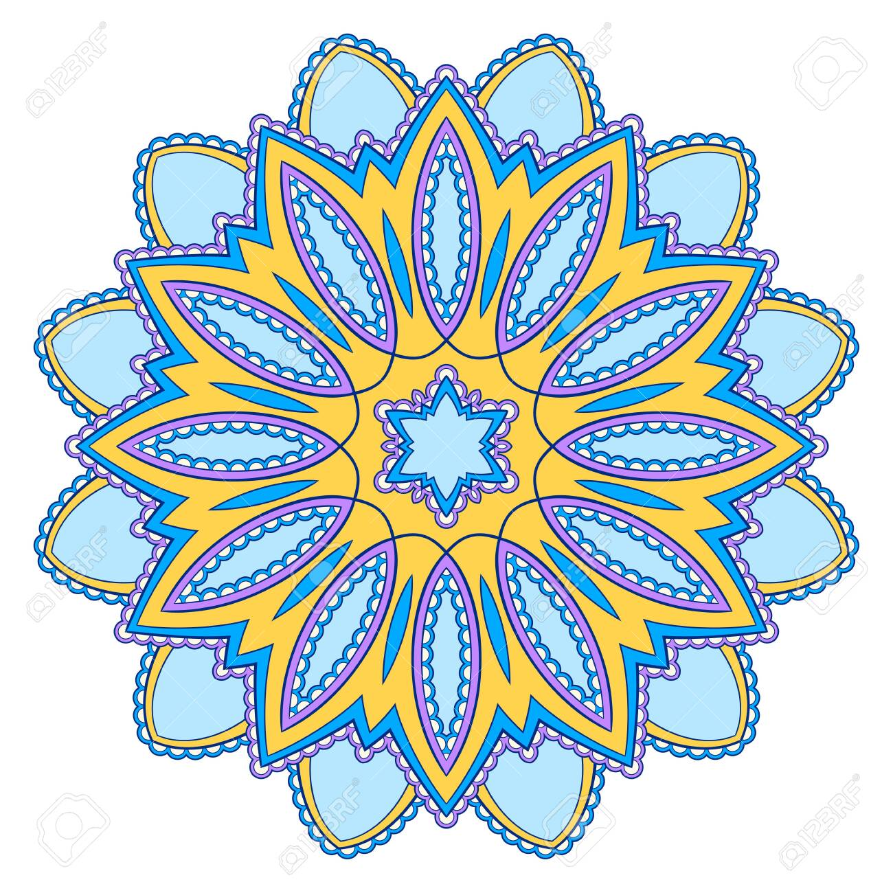 Decorative colorful ethnic mandala pattern. Design element for greeting card, banner or poster in oriental style. Hand drawn illustration - 123415995