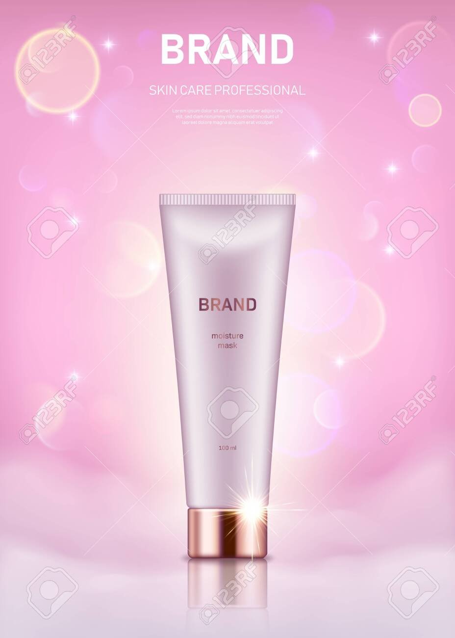 Realistic cream tube with golden lid on pastel pink background with bokeh lights. Advertising poster for the promotion of cosmetic skin care premium product - 137890993