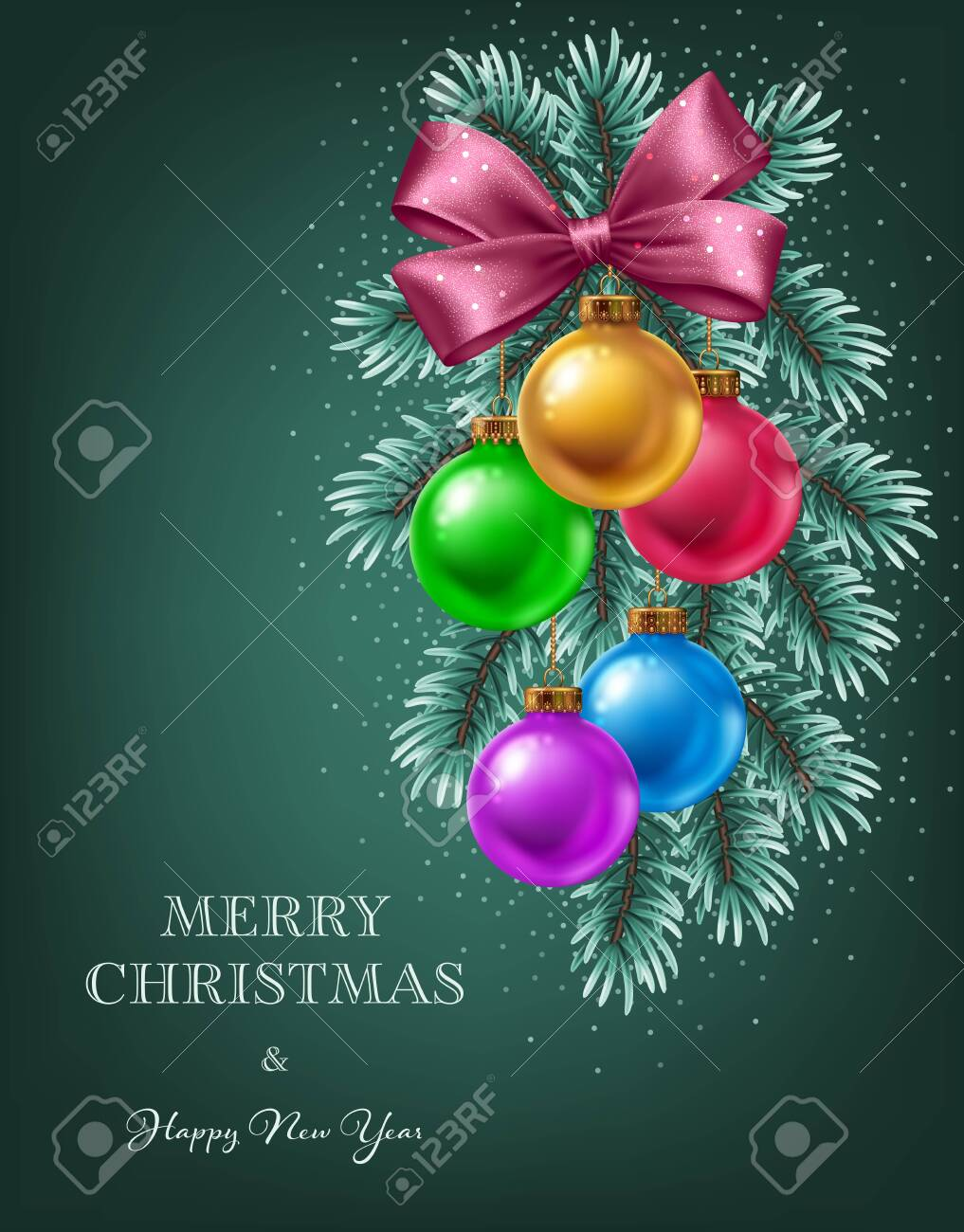 Christmas Tree Branches With Hanging Colorful Balls And Satin Royalty Free Cliparts Vectors And Stock Illustration Image 147741889