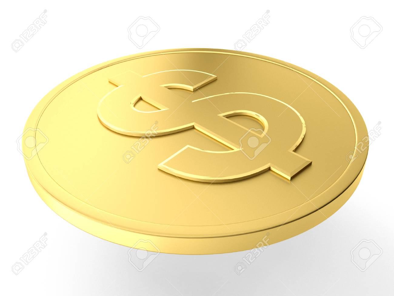 3d Darstellung Eines Gold Dollar Münze Lizenzfreie Fotos Bilder
