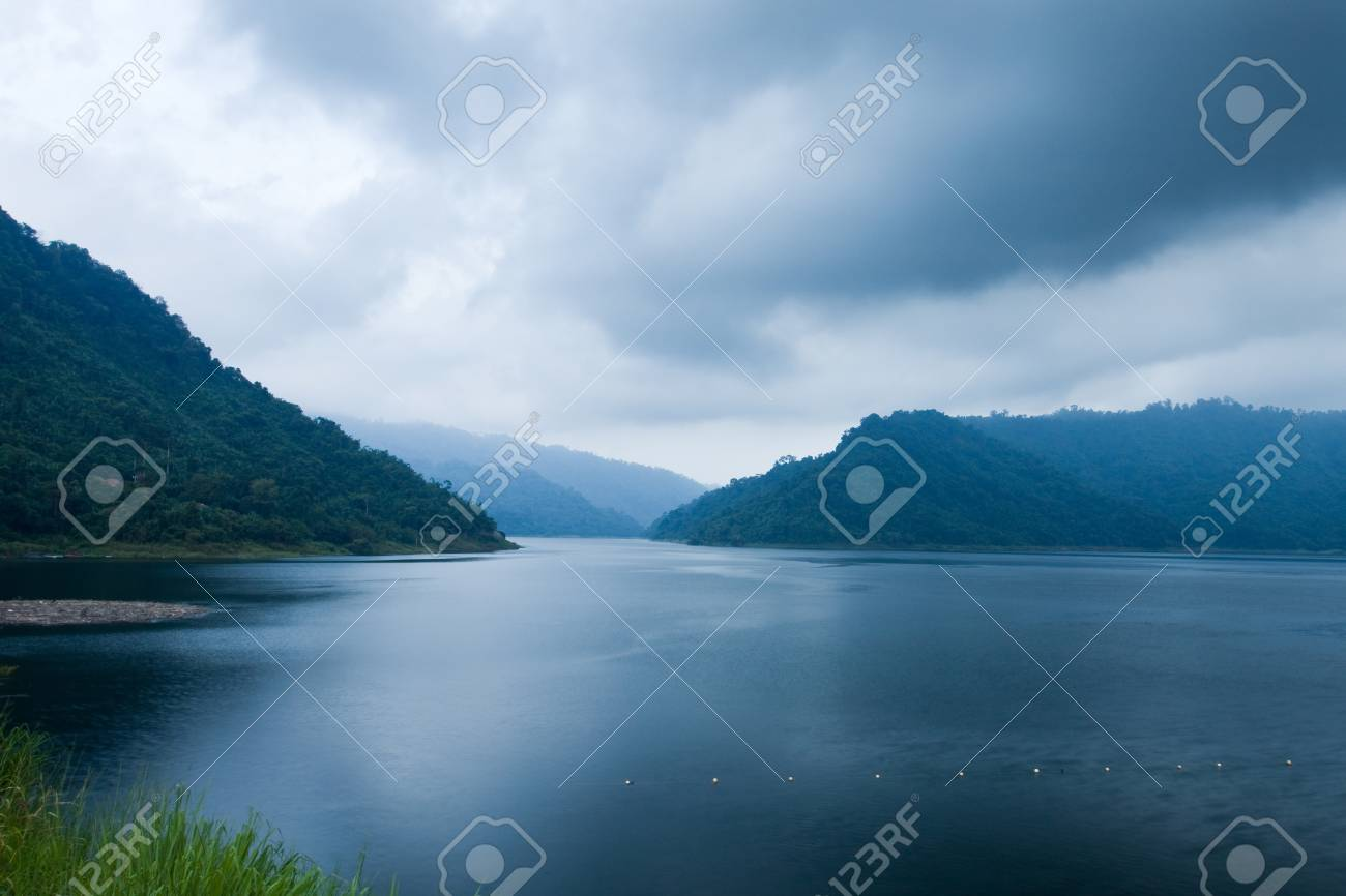 Rivers and mountains at cloudy time,Nakhon Nayok, Thailand Stock Photo - 15960313
