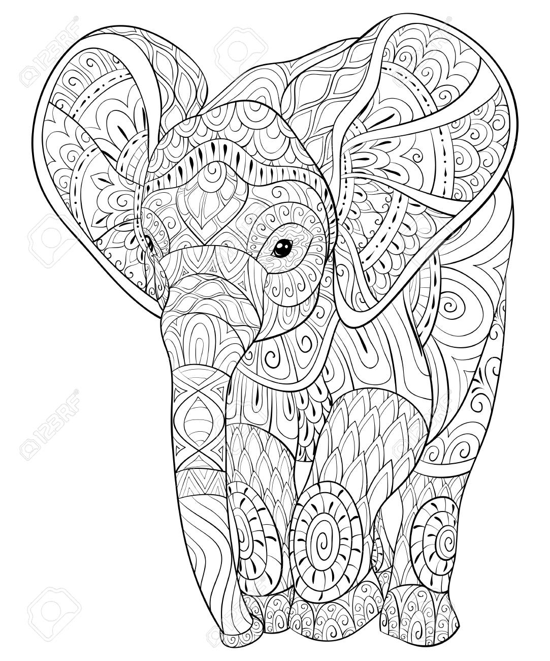 Adult Coloring Book, Page For Relaxing.Zen Art Style Illustration ...